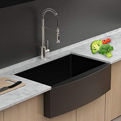 lordear 33 inch black farmhouse sink gunmetal black 16 gauge apron front deep single bowl stainless steel kitchen farm