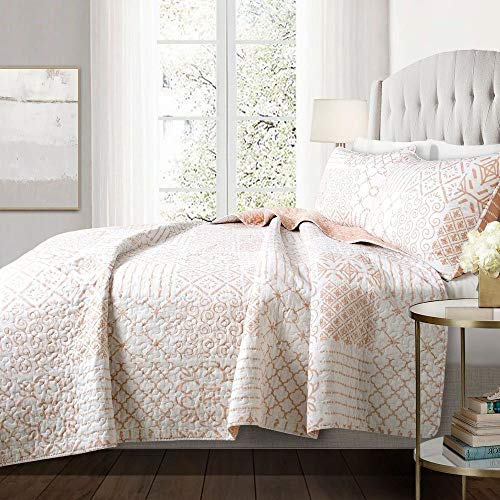 3 piece farmhouse nautical coastal king size quilt set all season contemporary polyester patchwork blush pink cotton