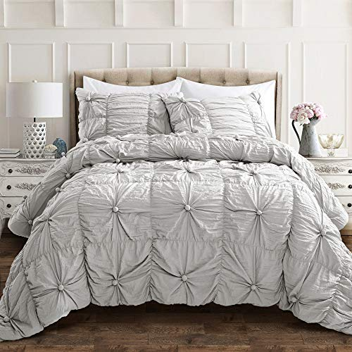 lush decor light gray bella comforter set shabby chic style ruched 3 piece bedding with pillow shams full queen