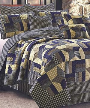 rustic blue and brown farmhouse primitive woodland star 3pc full queen size quilt set