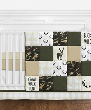 sweet jojo designs green and beige deer buffalo plaid check woodland camo baby boy crib bedding set 4 pieces rustic