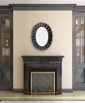 creative co op oval mirror with distressed black scalloped metal frame