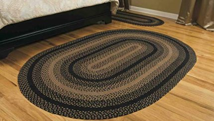 Ihf Home Decor Ebony Braided Rug 20 X 30 To 8 X10 Oval Accent Floor Carpet Natural Jute Material Doormat Black Tan Woven Collection 6 X9 Farmhouse Goals