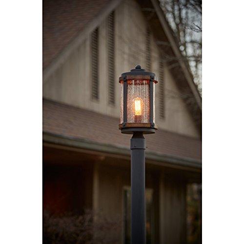kichler lighting barrington distressed black and wood post light 17 85 in h