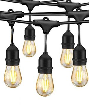 led outdoor string lights edison bulb string lights 48ft commercial waterproof dimmable string lights for patio 15