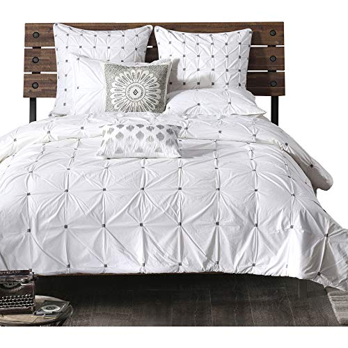 ink ivy masie king cal king size bed comforter set white elastic embroidery tufted ruffles 3 pieces bedding sets