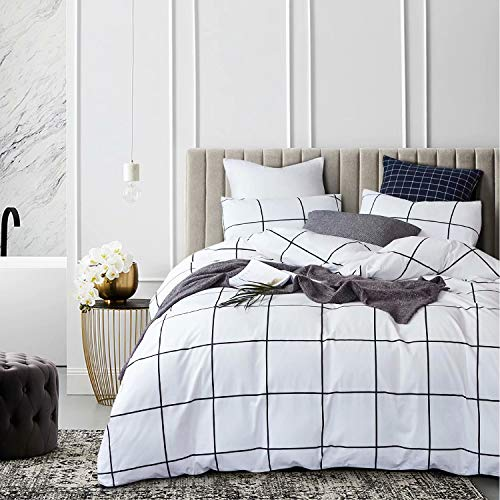 wellboo white plaid duvet covers grid twin black and white bedding cover cotton large plaid checkered covers white