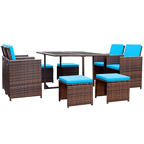 devoko 9 pieces patio dining sets outdoor space saving rattan chairs with glass table patio furniture sets cushioned seating and back sectional