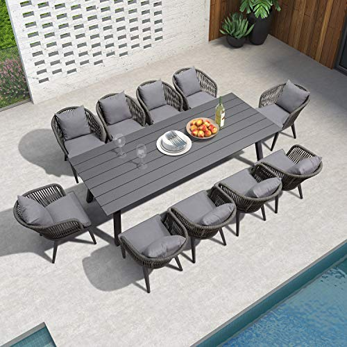 purple leaf 11 pieces patio dining sets all weather wicker outdoor patio furniture with table all aluminum frame for lawn garden backyard deck outdoor