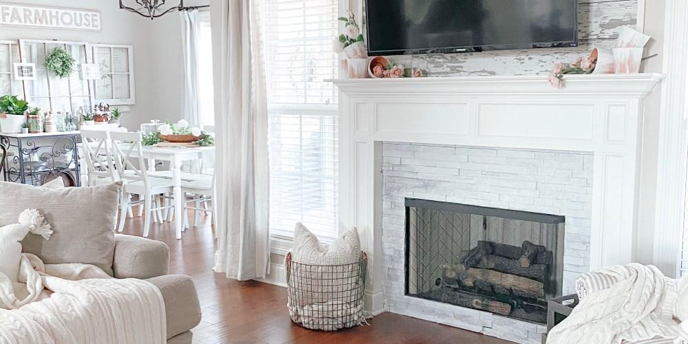 Farmhouseish - Whitewashing Fireplace