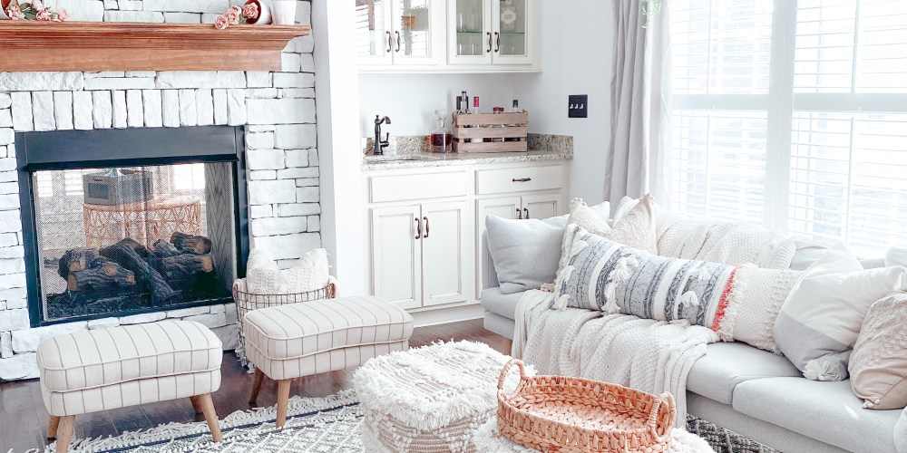 Farmhouseish - Whitewashed Stone Fireplace