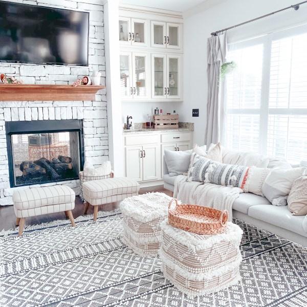 Farmhouseish - Whitewashed Stone Fireplace