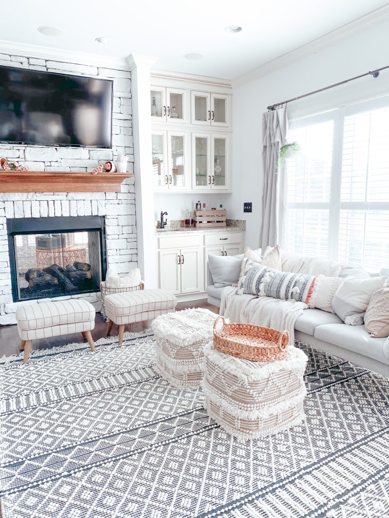 Farmhouseish Whitewashed Stone Fireplace