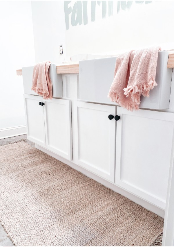 How I Installed 2 Elkay Fireclay Farmhouse Sinks Into Our Girls' Bathroom (And Built A Vanity Around Them)