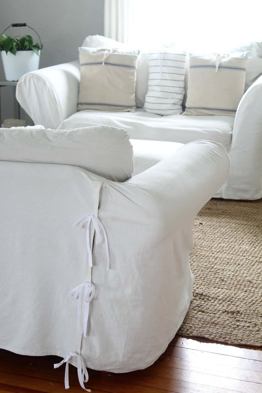 how to make a slipcover for sofa high end beds bleach drop cloth it perfectly soft and white our couches are super ugly they green ripped old cost 80 the pair true story but can you tell