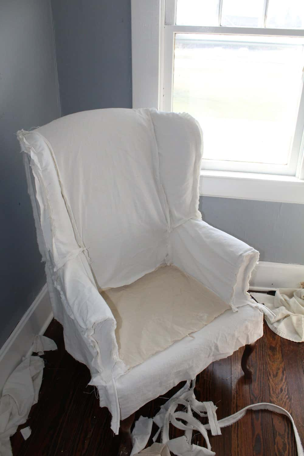 How to Sew a Slipcover for a Wingback Chair  Farmhouse on