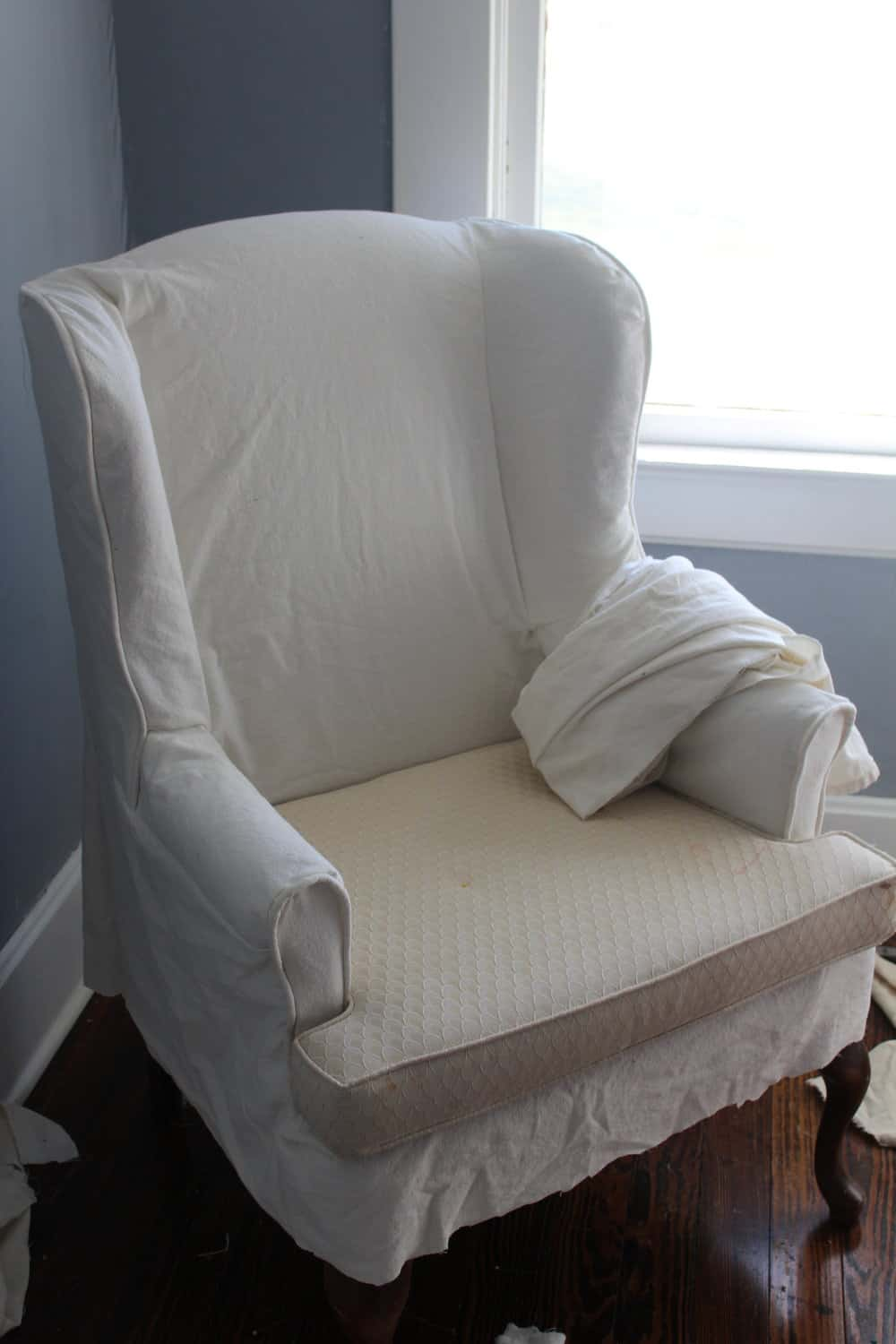 how to make slipcover for wingback chair ergonomic lowyat sew a farmhouse on boone after the main portion of was finished i added ruffle and piping bottom edge finish it off