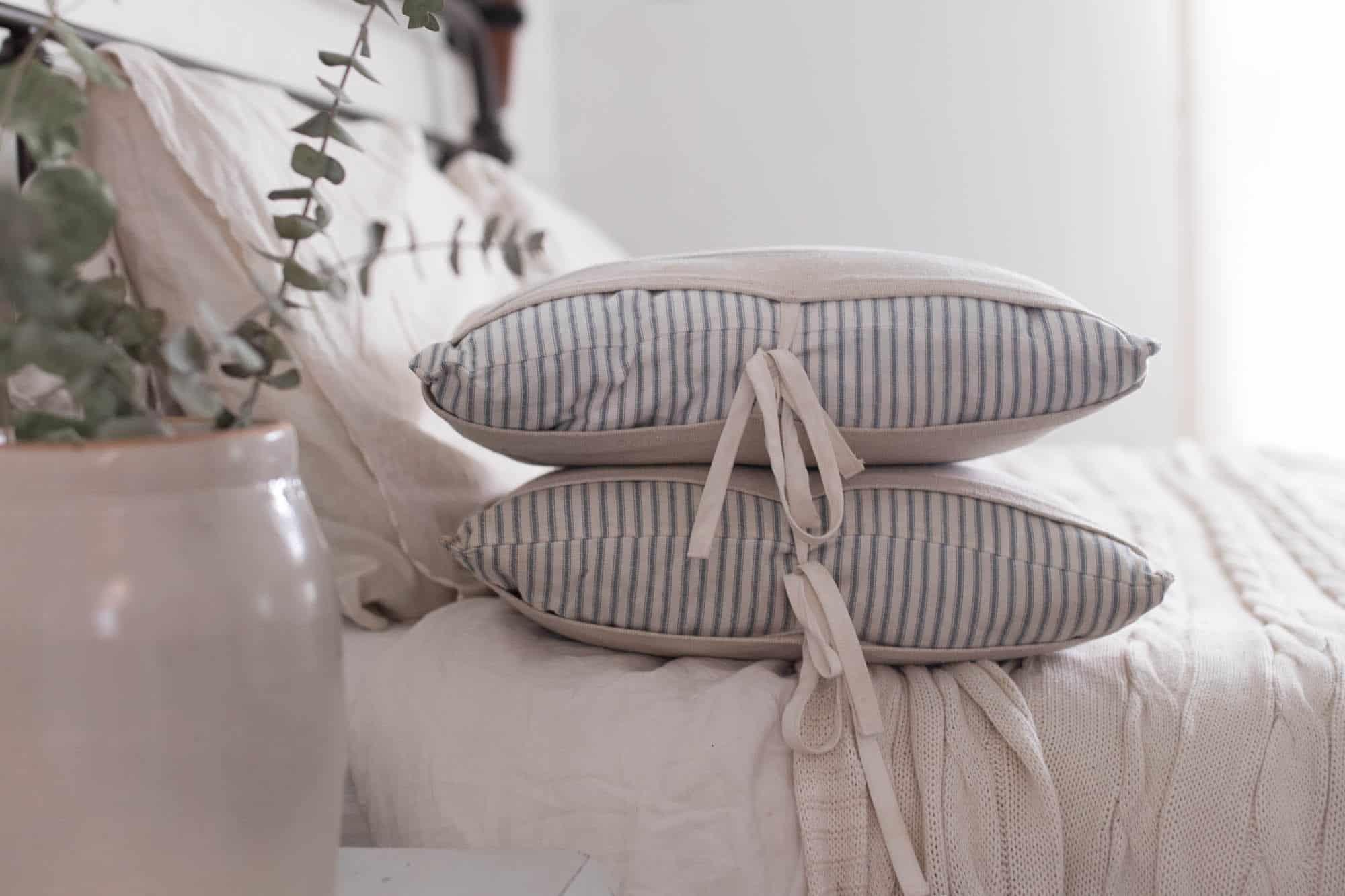 https www farmhouseonboone com diy grain sack and ticking stripe pillows