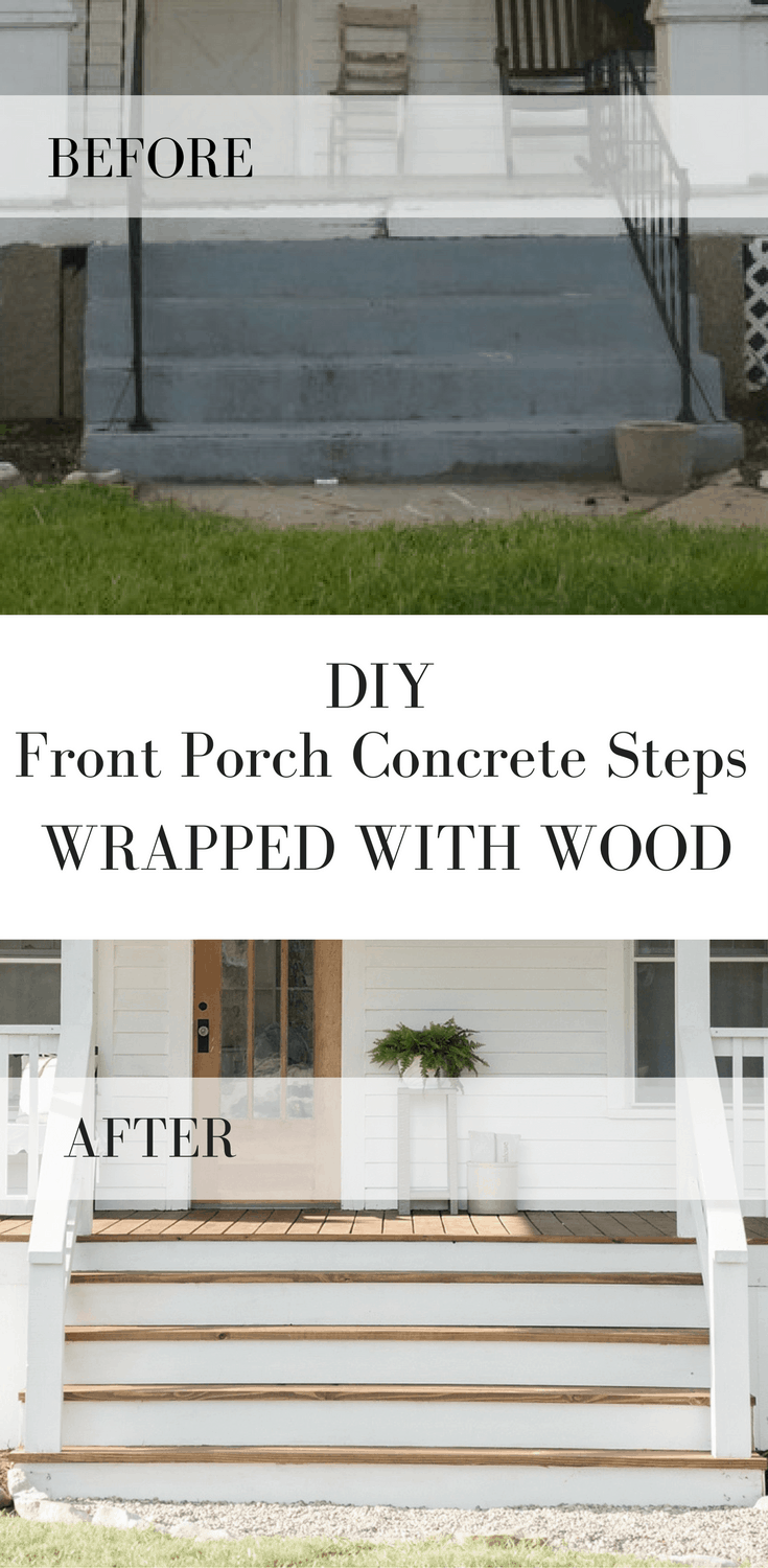 how to wrap concrete steps with wood