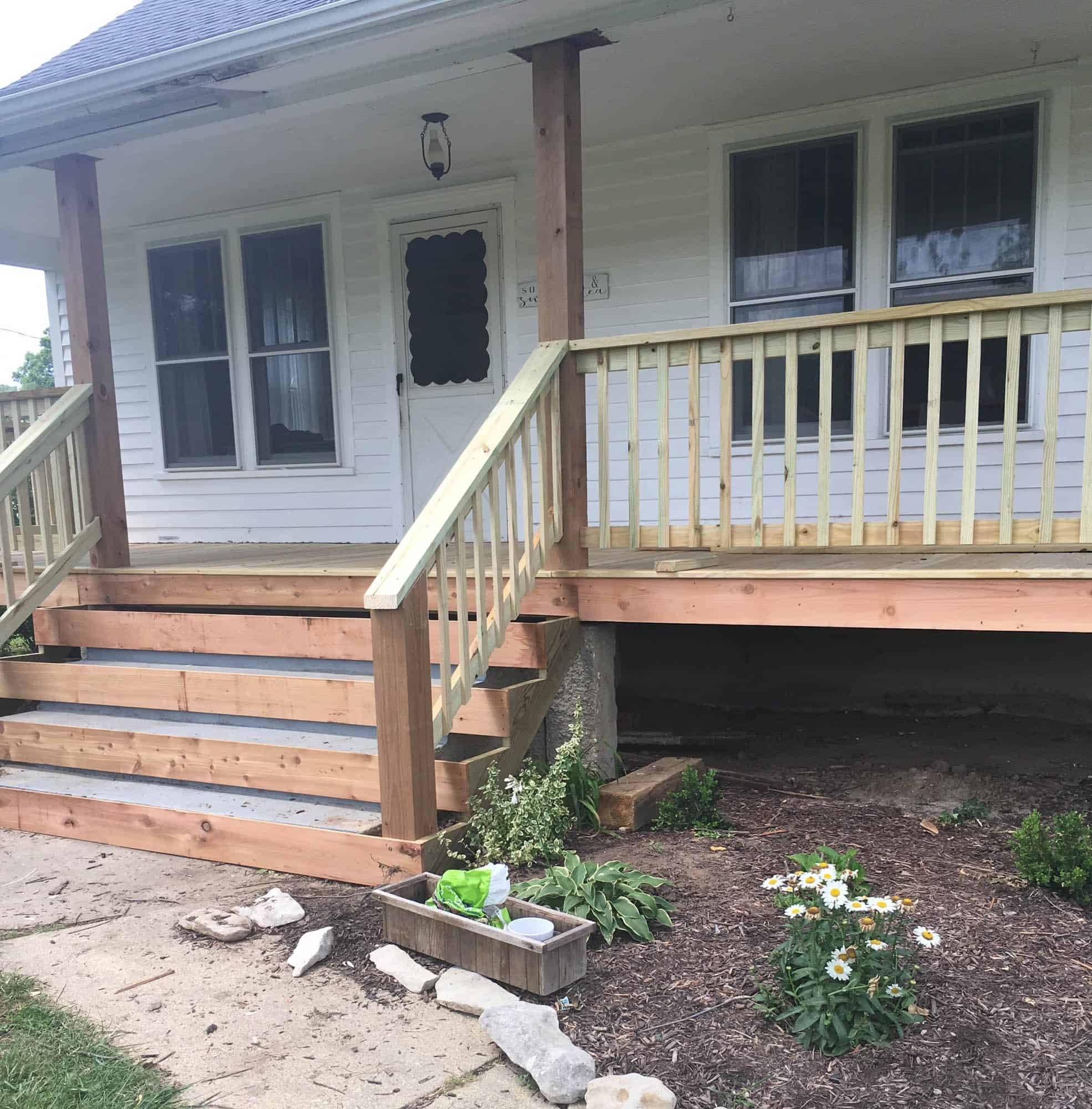 How To Cover Concrete Steps With Wood Farmhouse On Boone | Wooden Handrails For Outside Steps | Staircase | Building | Wrought Iron | Concrete Steps | Deck