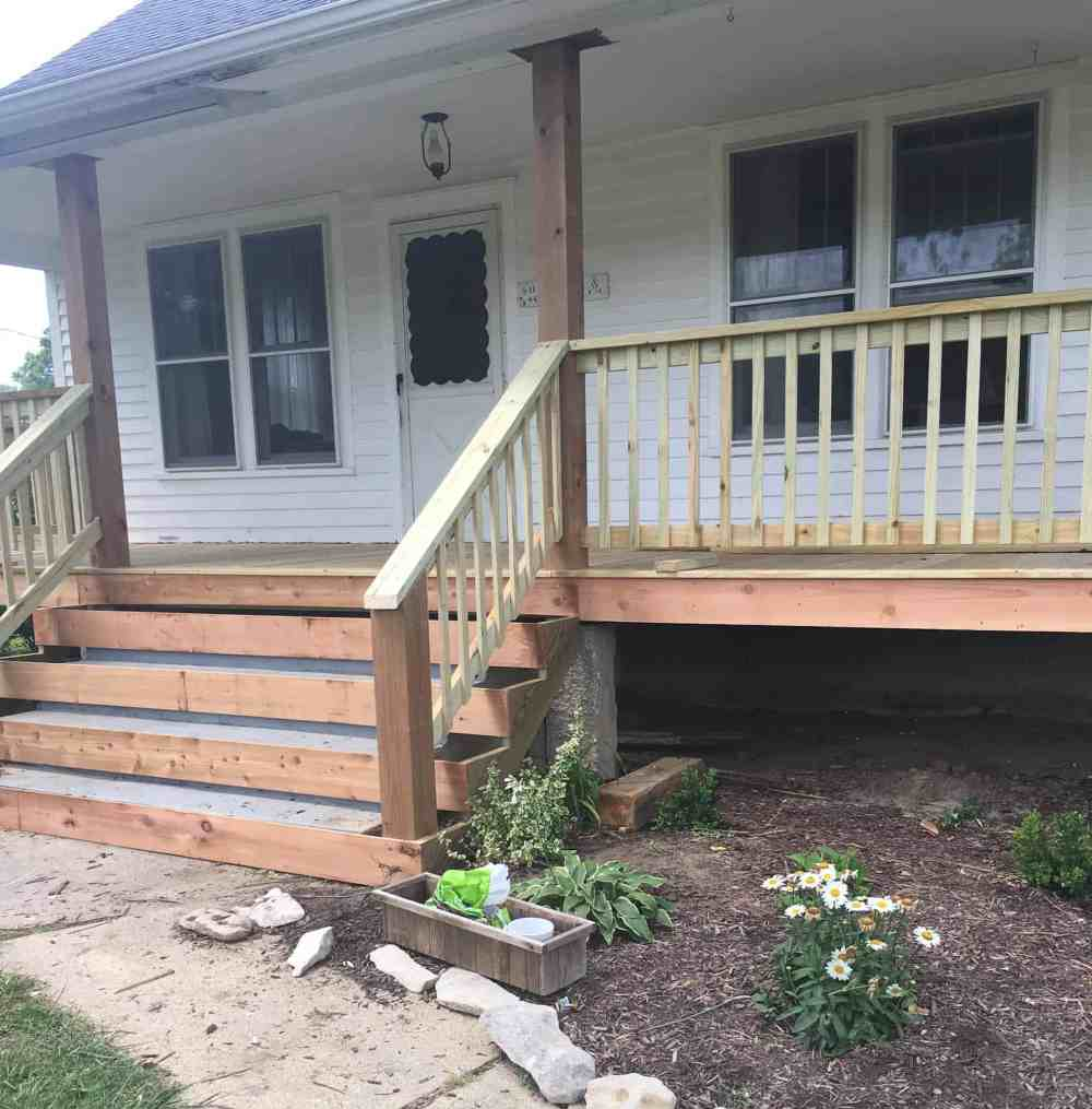 medium resolution of how to wrap front porch concrete stairs with wood