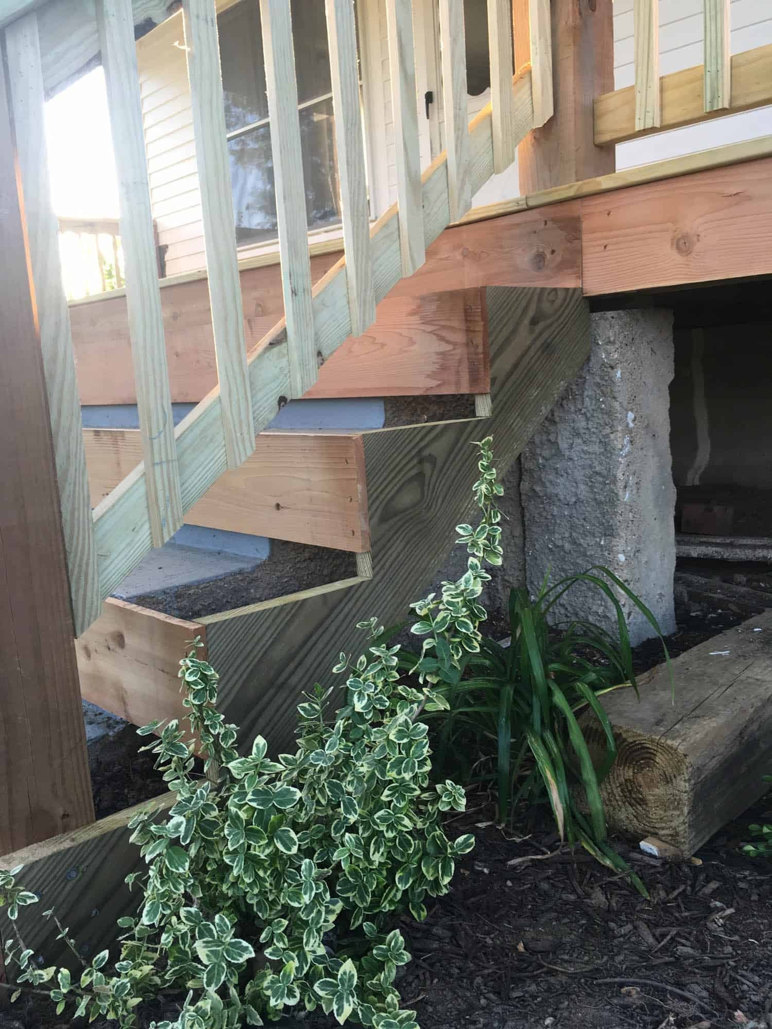 How To Cover Concrete Steps With Wood Farmhouse On Boone | Wood Railing On Concrete Porch | Surface Mount | Wood Decorative | Vinyl | Front Entry Stair | Bluestone Patio