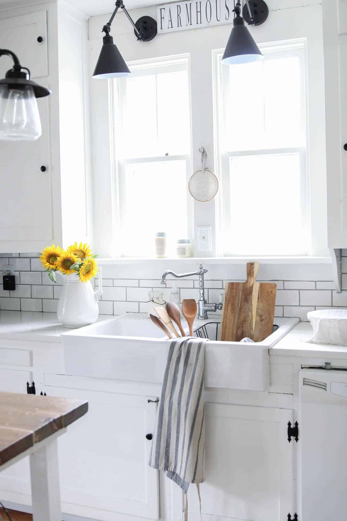 summer farmhouse white kitchen and sunflowers