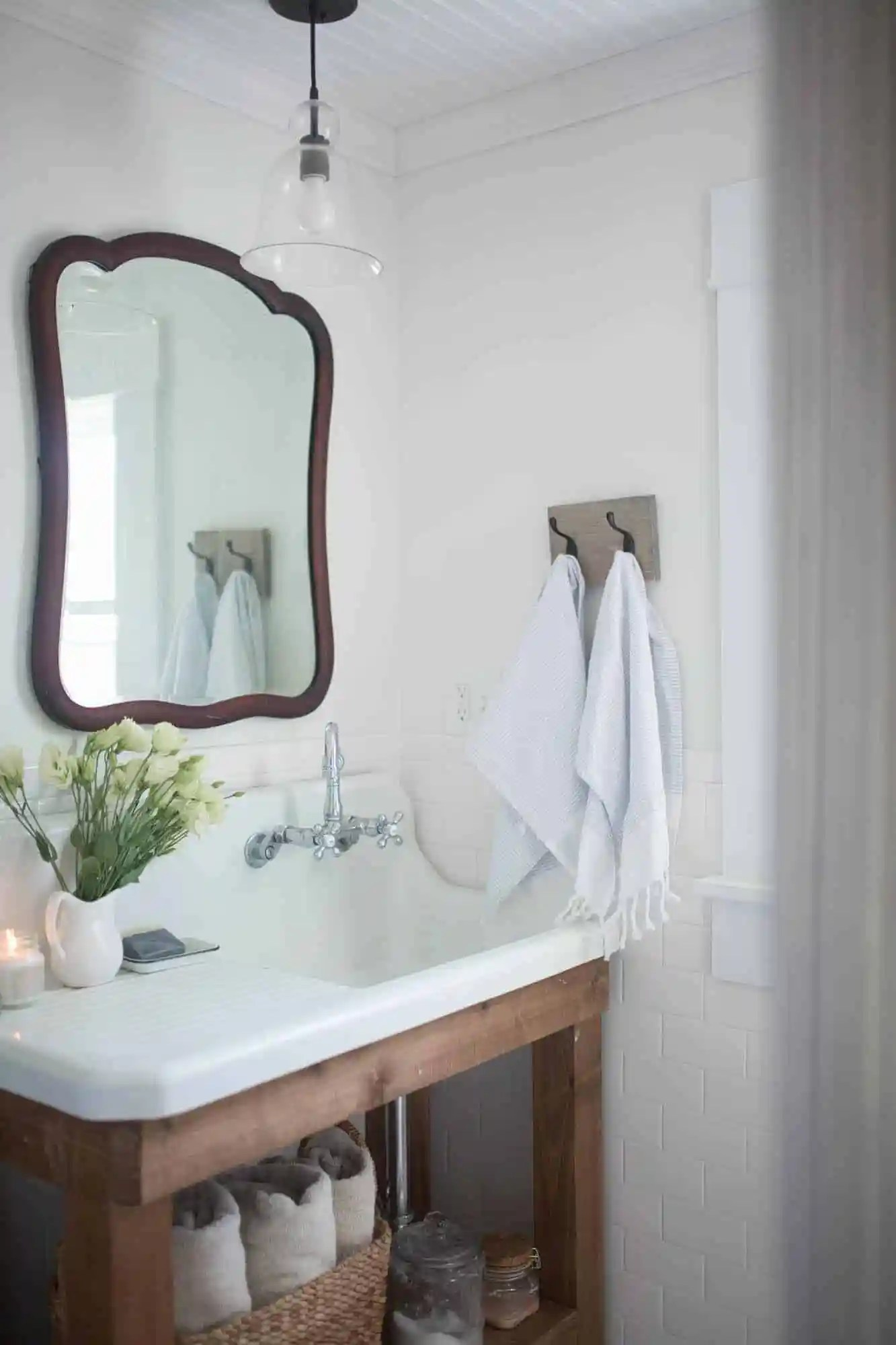 Farmhouse bathroom decor farmhouse on boone - Farmhouse style bathroom mirrors ...