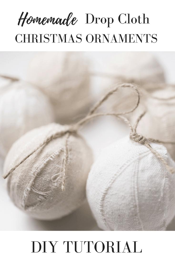 Drop Cloth Rag Ball Homemade Christmas Ornaments. Super simple diy ornaments with video tutorial.