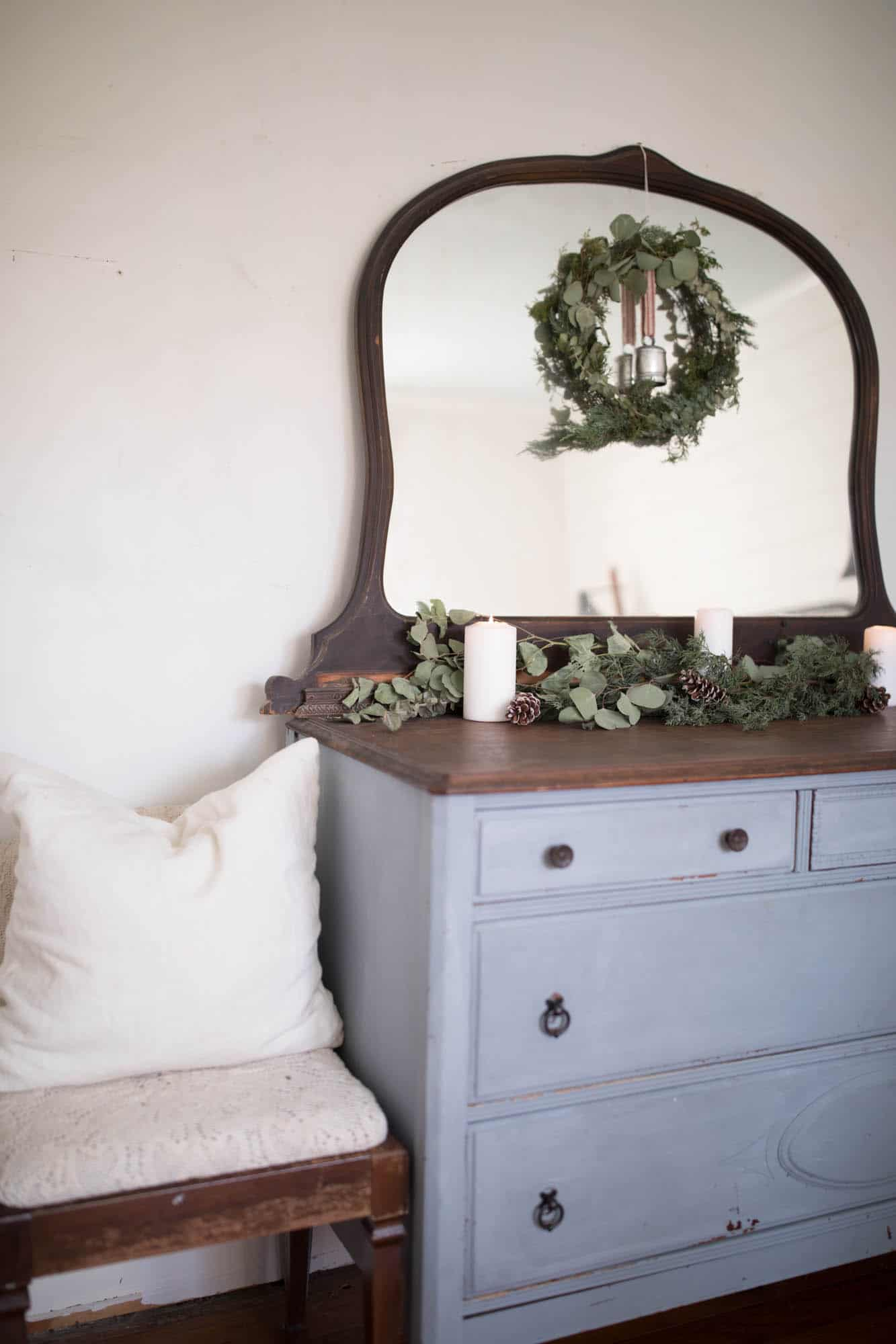 Handmade Greenery Wreath Milk Paint Dresser Neutral Christmas