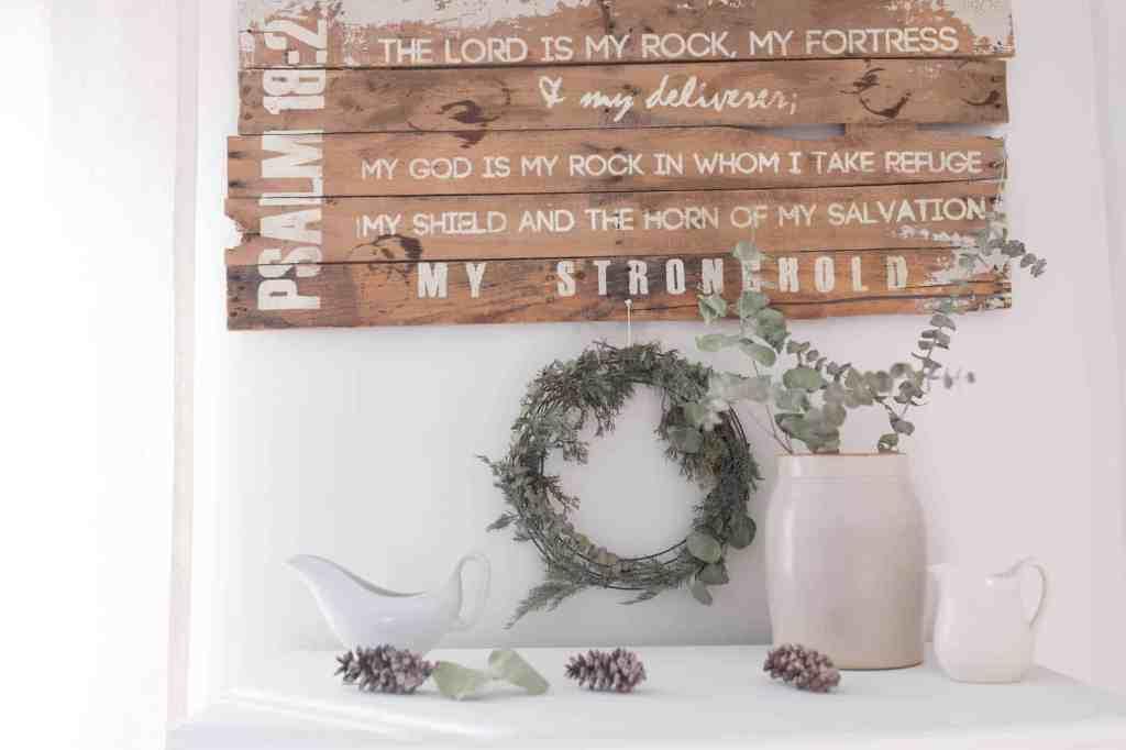 winter farmhouse bedroom eucalyptus wreath