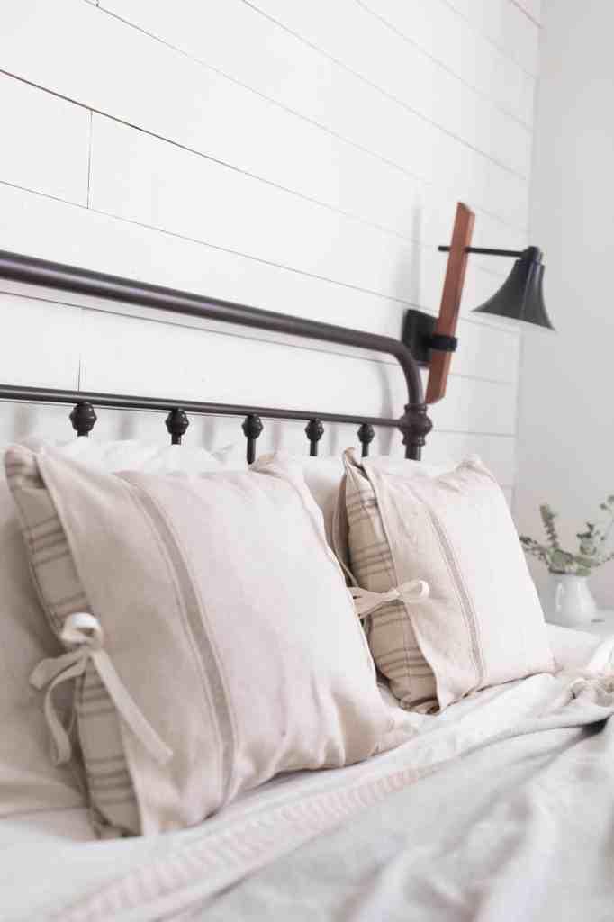 farmhouse style grain sack pillows