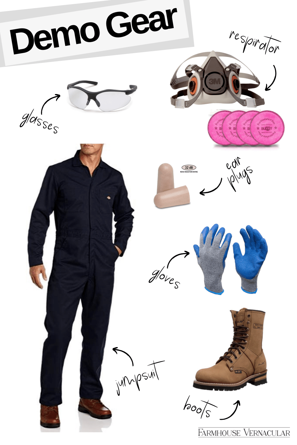 Glasses  |  Respirator  |  Filters  |  Ear Plugs  |  Gloves  |  Boots  |  Jumpsuit