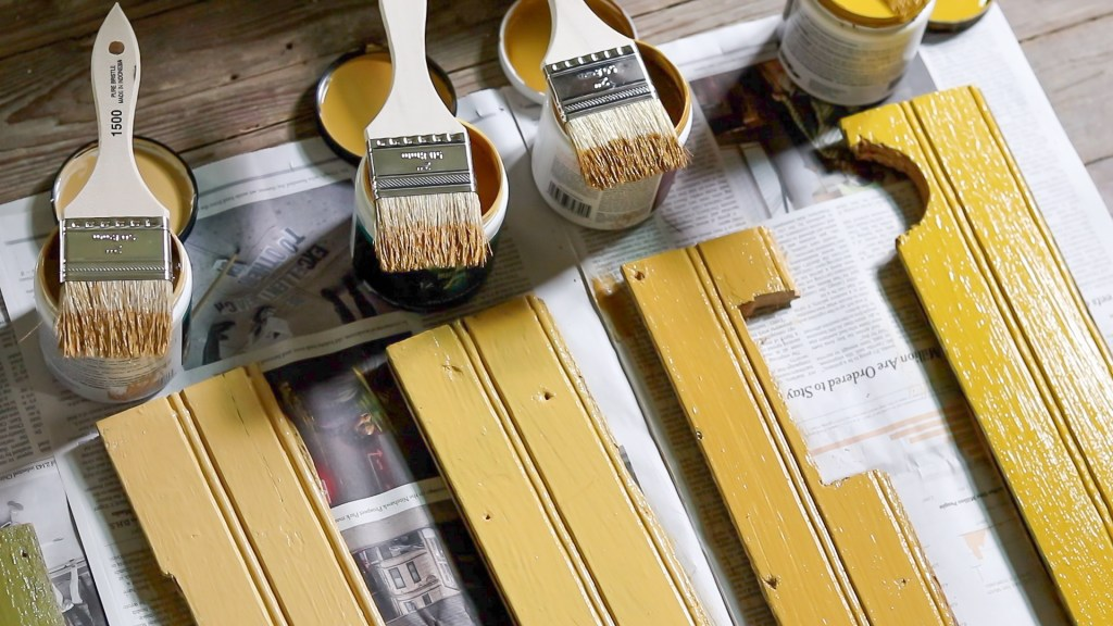 yellow paint colors and brushes