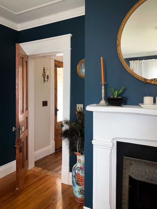 navy bedroom fireplace