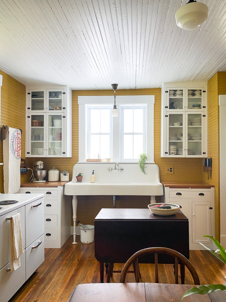 farmhouse sink and stove