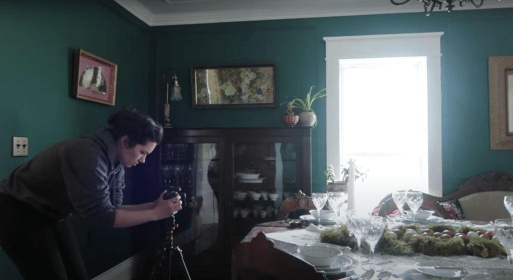 filming putting away dining table