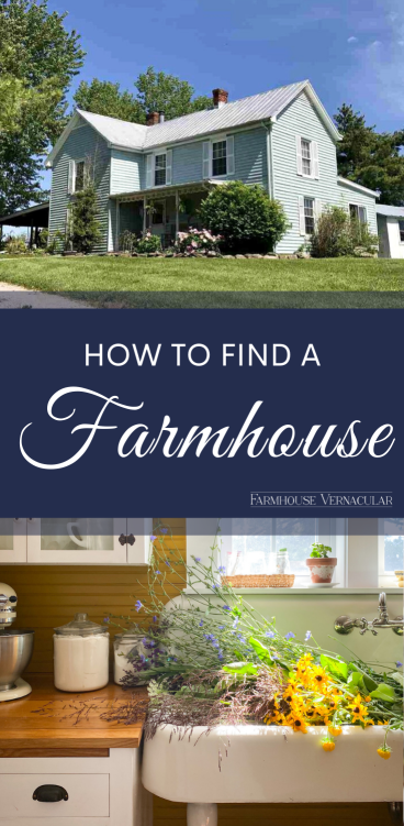 Blue farmhouse and sink full of flowers with text that says how to find a farmhouse