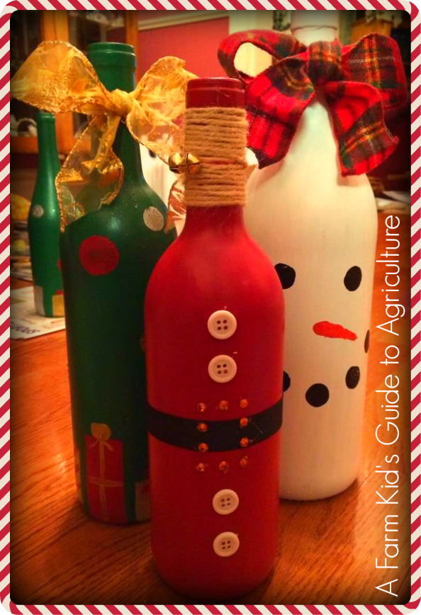 they helped me collect nearly 60 wine bottles in a few short weeks to complete these adorable santas christmas trees and snowman decorations - Christmas Wine Bottle Decorations