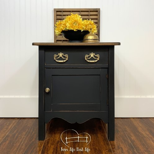 June 2019 ~ Antique Washstand Transformed Bedside Table