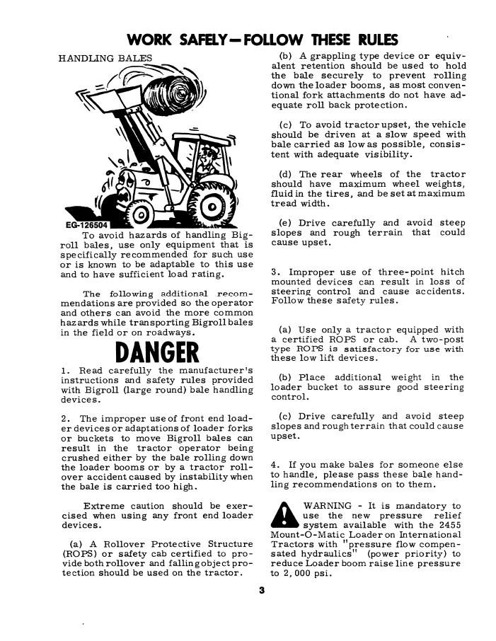 International 2355 and 2455 Mount-O-Matic Loader Manual