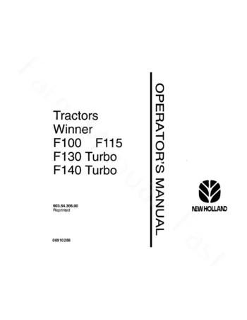 Fiat Hesston F100, F115, F130 and F140 Tractor Manual