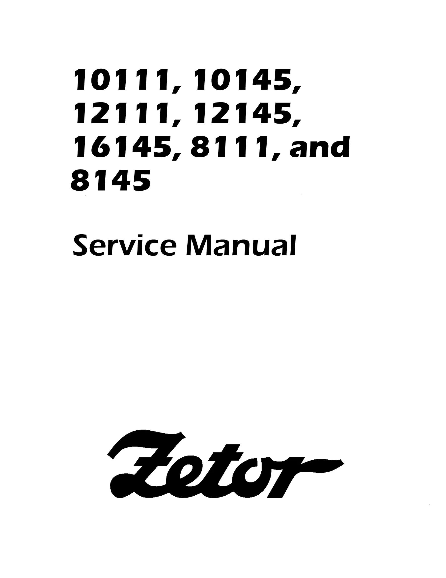 Zetor 10111, 10145, 12111, 12145, 16145, 8111, and 8145