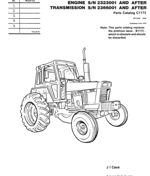 Case 1070 Agri-King Tractor Parts Catalog PDF 9.99
