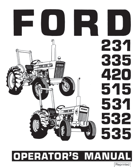 Ford 231 335 420 515 532 535 Tractor Manual PDF 9.99