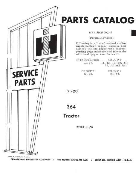 International 364 Tractor Parts Catalog PDF 4.99