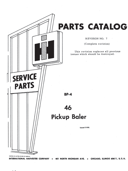 International McCormick 46 Baler Parts Catalog Manual PDF