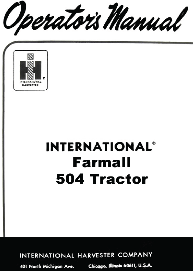 International Farmall 504 Tractor Manual PDF