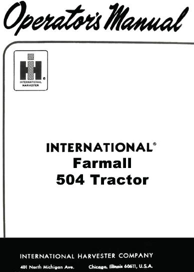 International Farmall 504 Tractor Manual PDF