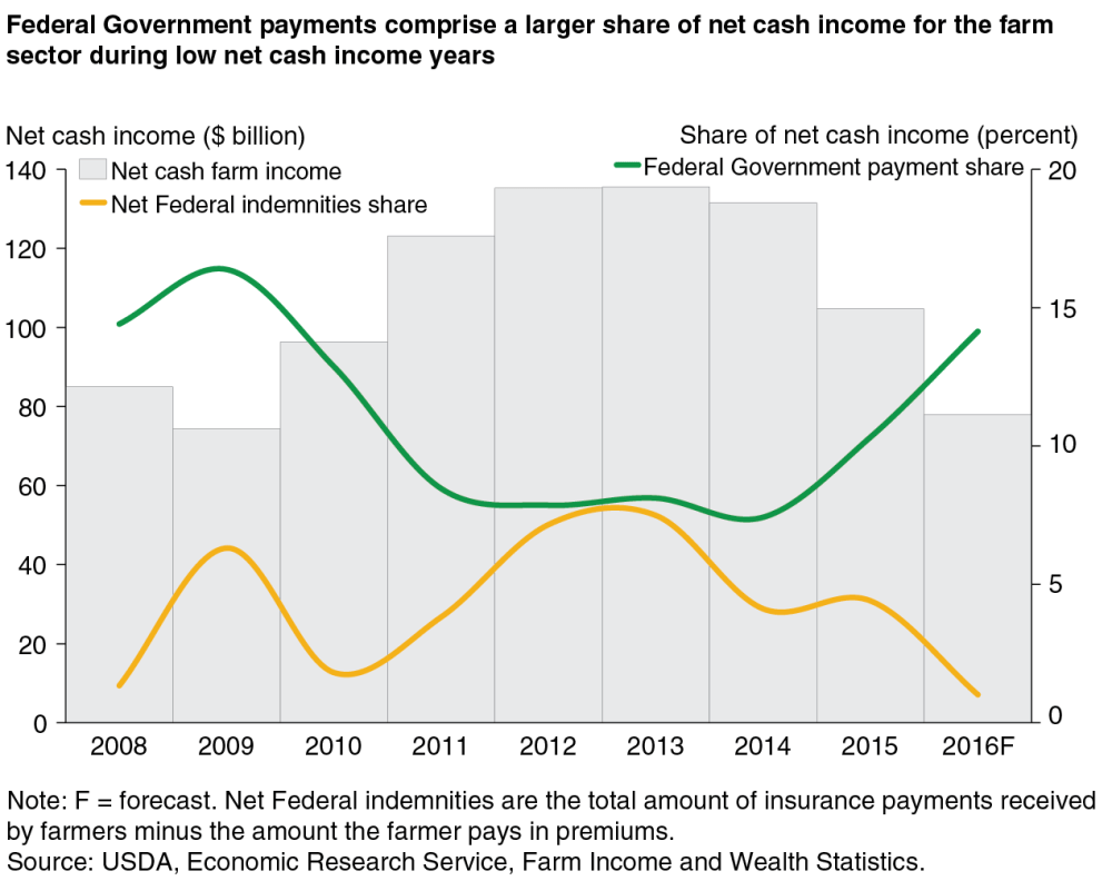 medium resolution of  federal government payments comprise a larger share of net cash income for the farm sector during low net cash income years chart gallery usda economic
